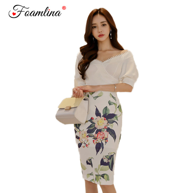 97587f51615b6 US $38.5 |Foamlina Elegant Office Work Women 2 Pieces Sets Sexy V neck  Short Sleeve Crop Top and Floral Print Pencil Skirt Suits-in Women's Sets  from ...