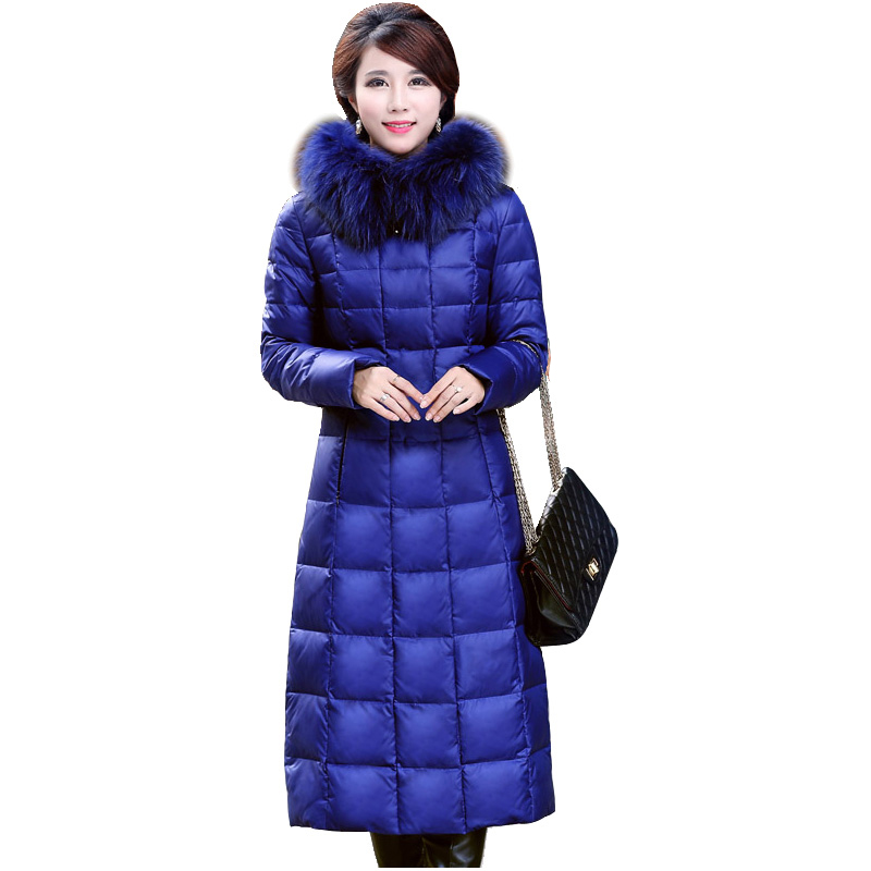 9f92da794ad Winter  s Down Jacket 2017 Winter Female Down Coat Medium-long Female  Thickening Luxury Raccoon Fur Hooded Down Parkas D1508