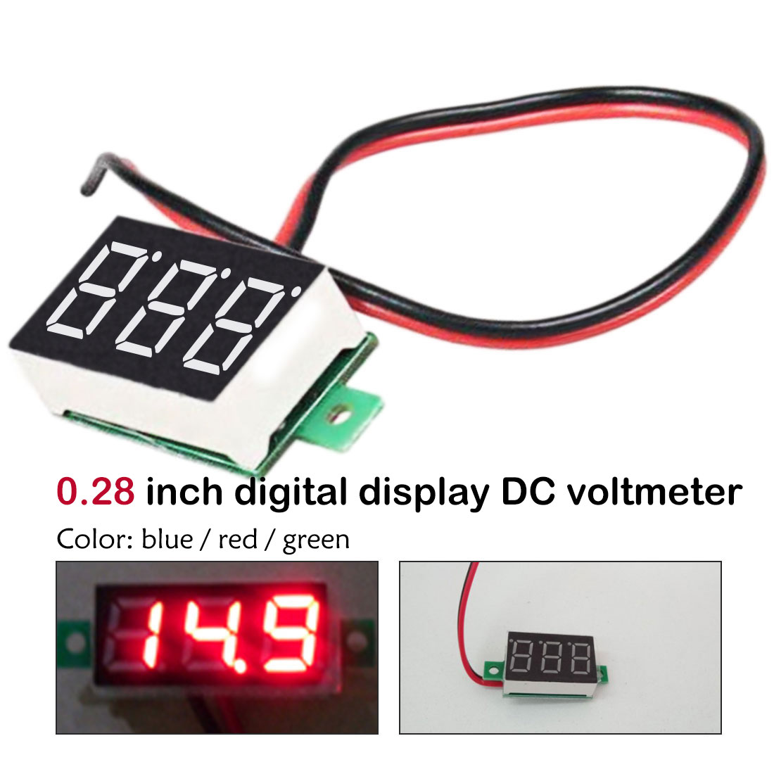 DC 2.5V-30V 0.28 Inch LED Digital Voltmeter Voltage Meter Volt Detector Monitor Tester Panel