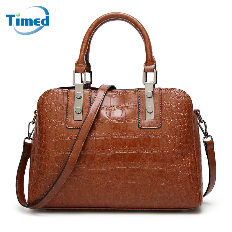High Quality Totes 2018 New Europe Style Fashion Women Bags Crocodile Pattern Simple Handbags Lady Shoulder Messenger Bag