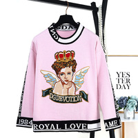 New Sweater Women Autumn Winter Brand Luxury Designer Runway Vintage Sweaters Angel Crown Letter Embroidery Sweater Trui Sueter