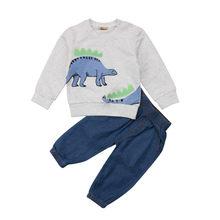 d98225d9a Casual niños bebé Niños Niñas dinosaurio imprimir ropa de algodón Tops  sudadera Denim Pantalones 2 unids trajes Conjuntos de rop.
