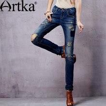 Artka 2015 женская ретро новая коллекция летней одежды высококачественные элегантные облегающие лоскутные джинсовые прямые брюки-дудочки с вышивкой KN14353C