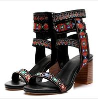 Top Quality Casual Street Style Zip Gladiator Sandals Square Heels Open Toe Women Pumps Size 35 40 Rome Sandal Footwear