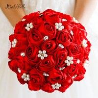 Kralen Bruidsboeket Rhinestone Crystal Bruidsboeket Red Satijn Zijde Rose Bloemen Bruidsmeisje Parel Blumenstrauss ModaBelle