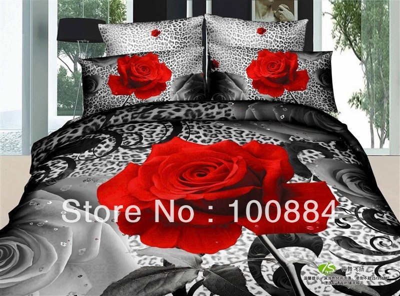 500TC cotton twill reactive quilt bed cover roses Cotton 4pc bedding set  without the filler. Online Buy Wholesale bed comforter cover from China bed comforter