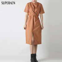 2017 Summer New Fashion Women Dress Strap Short Sleeve Dress Split The Fork Cotton Dress Cotton