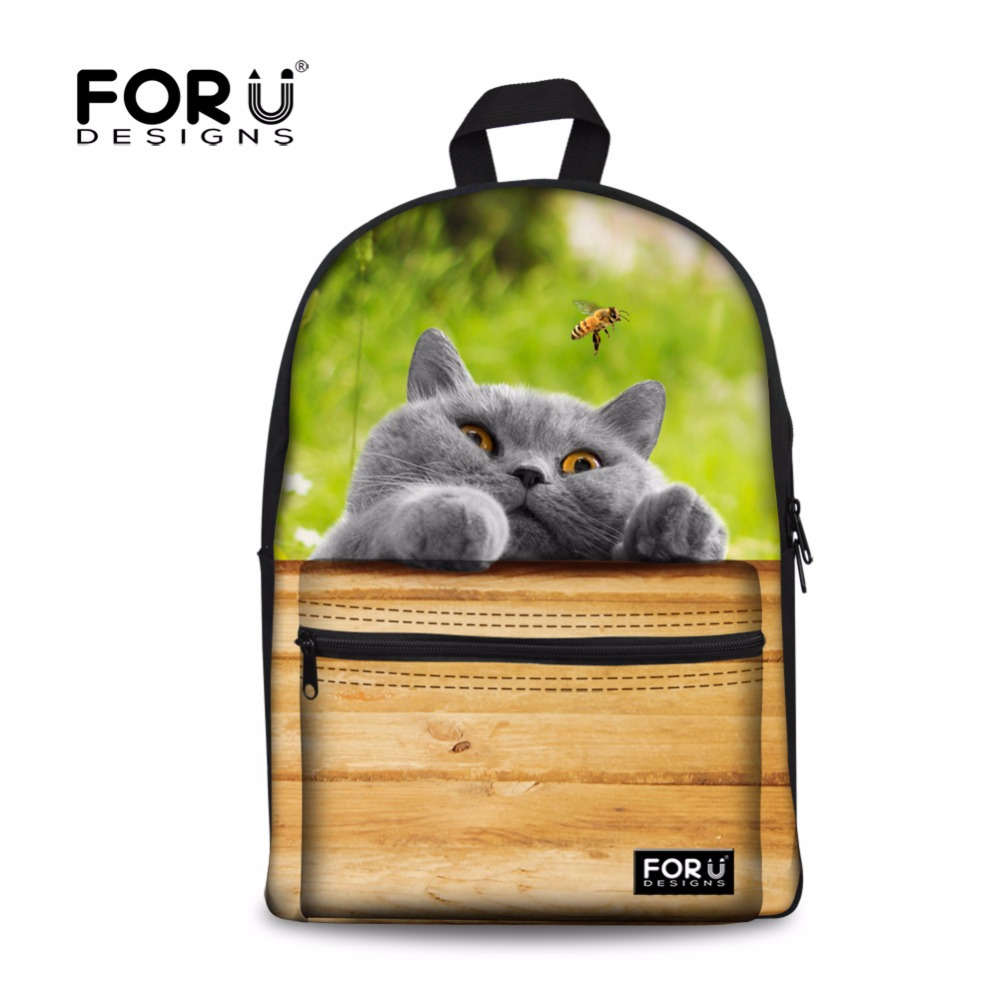 FORUDESIGNS Cute Pet Labrador Printed Casual Backbag Student Canvas School Backpack Fashion Women Travel Rucksack Kids Mochila