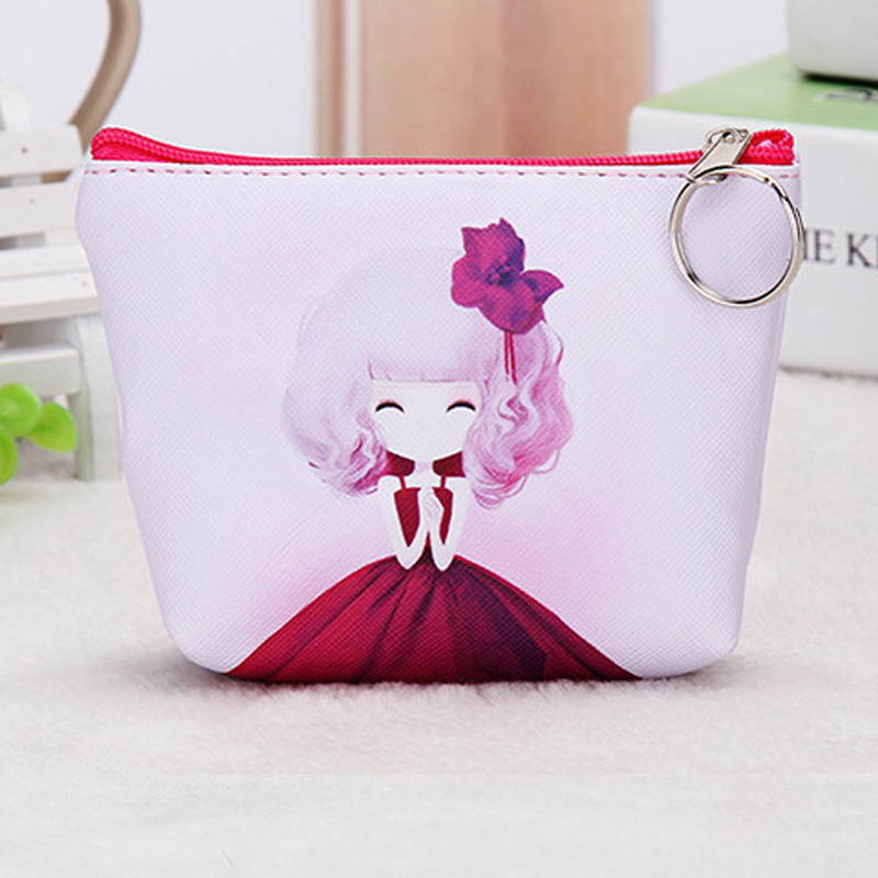 QZH New Coin Purses Women Kids Girls Cartoon PU Leather Wallet Coin Purse Handbag princess Mini Change Purse money bag