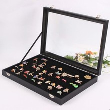 New Arrival Black Velvet Jewelry Case Storage Box With Glass Lid For Earring Ring Pendant 100 available