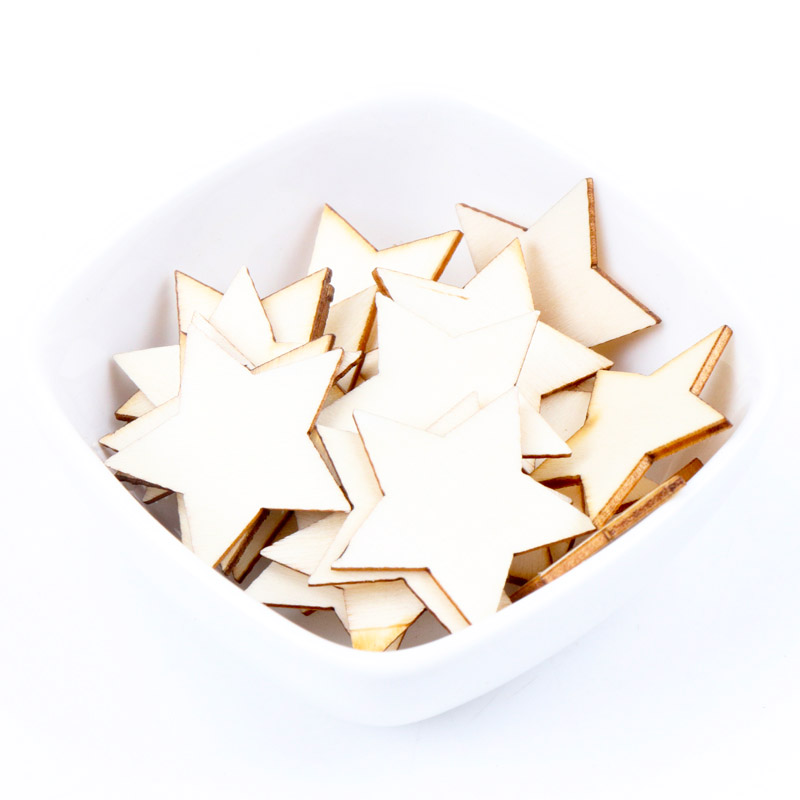 Star Pattern Wooden Scrapbooking Collection Craft For Handmade Accessory Slices Decoration Home DIY 10-30mm 50pcs