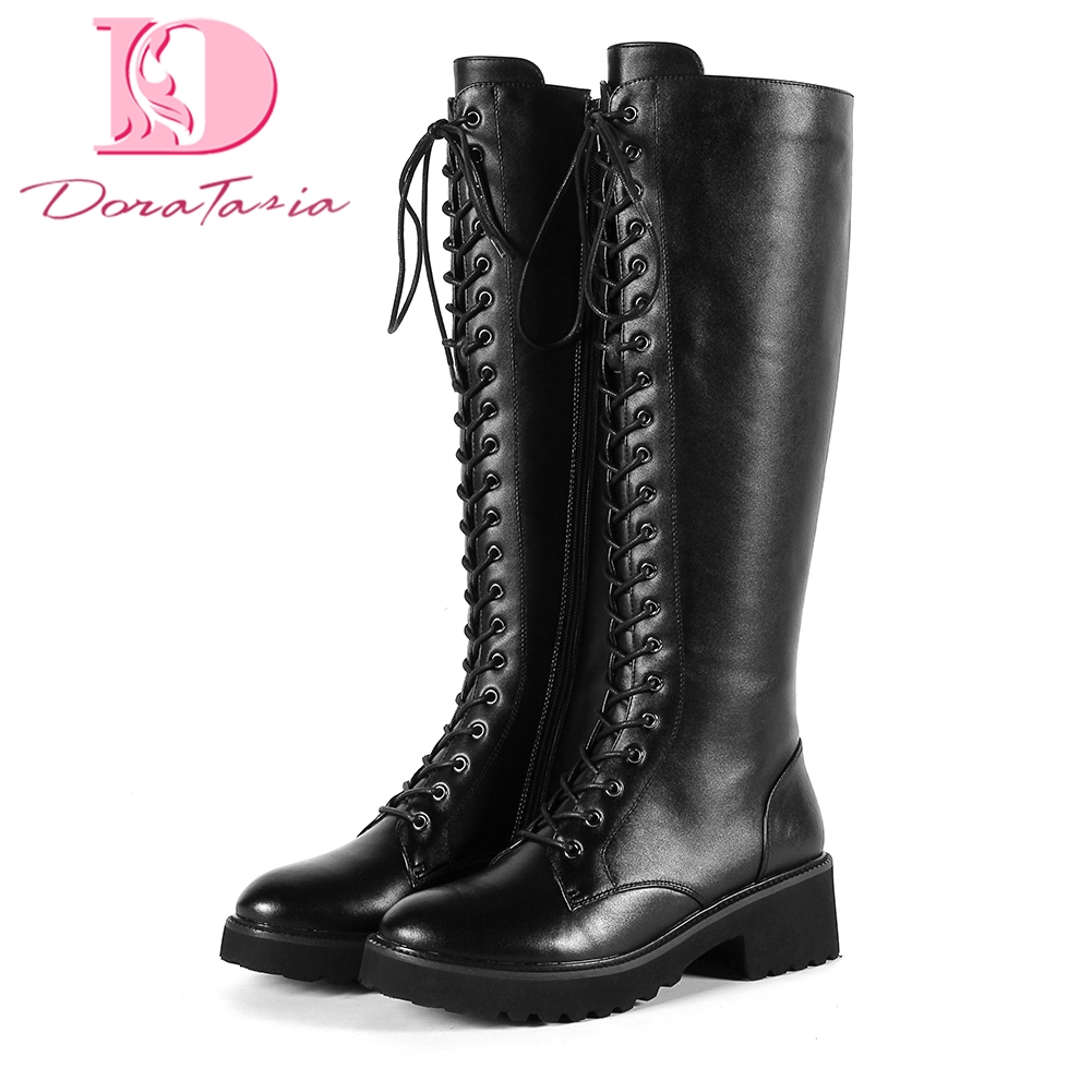 Doratasia Brand new genuine leather Large Size 34-43 Autumn winter Boots Woman Shoes Knee High Boots Female Shoes Women