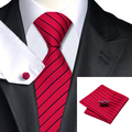 Mens Tie Red Black Stripe Silk Jacquard Necktie Hanky Cufflinks Set Business Wedding Party Ties For Men C-357