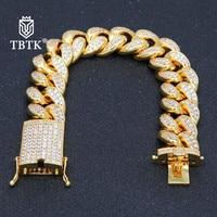 TBTK 20mm Width Cuban Link Bracelet Beautiful Geometric Shape Wrist Jewelry Box With Tongue Clasp Men's Fashion Punk Bracelet