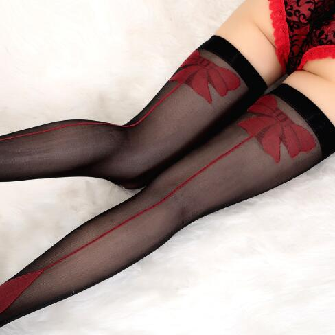 2019 Charming Women Lady Sexy Red Bow Stockings Pantyhose Over Knee Stockings High Elastic Tights Black Hosiery NEW