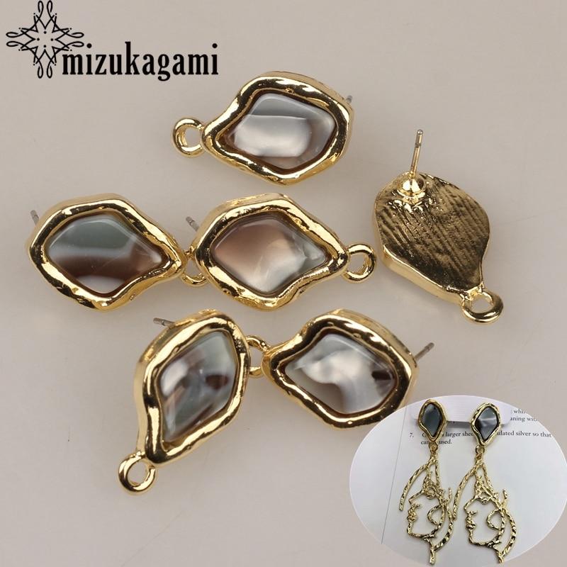 23*14mm 6pcs/lot New Zinc Alloy Golden Oval Earrings Base Earrings Connector For DIY Fashion Earrings Accessories
