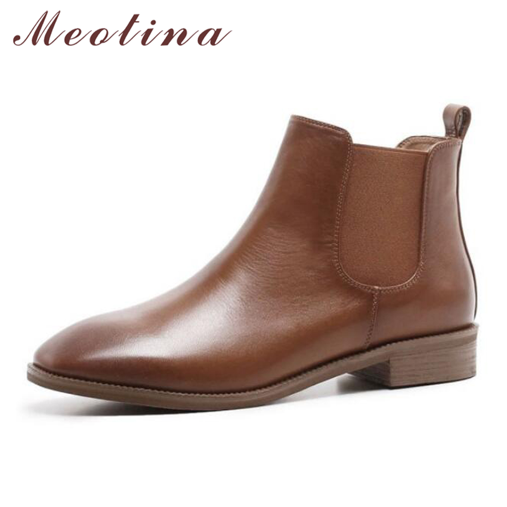 Meotina Natural Leather Ankle Boots Chelsea Boots Women Winter Flat Genuine Leather Short Boots Autumn Female Shoes Black Brown autumn winter black gold leather chelsea ankle boots european design man chelsea buckle boots dress metal chain short boots