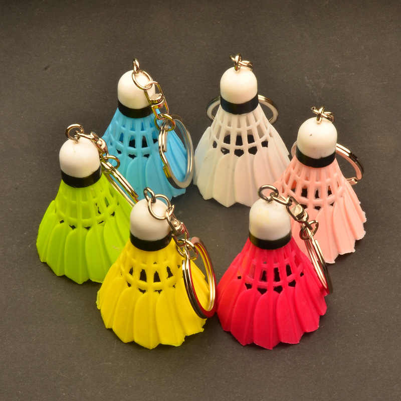 55*40MM Novelty Mini plastic Simulated Badminton keychain sports jewelry key chain souvenir creative sports jewellery Club gifts