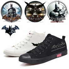 DC Superhero Batman Cool Cartoon Printing High Heel Canvas Uppers Sneakers College Personalise Fashion Casual Shoes