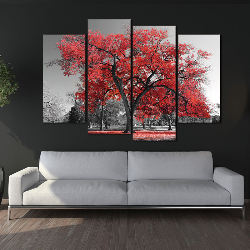 Canvas painting print wall art decor maple tree forest for Black and white mural prints
