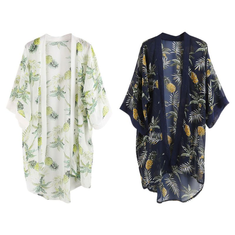 2019 New Summer Country Style Half Sleeves Swimsuit Cover Up Boho Colored Pineapple Digital Printing Kimono Cardigan Asymmetric