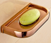Rose Gold Color Polished Brass Bathroom Accessories Wall Mounted Soap Dish Holder Wba871