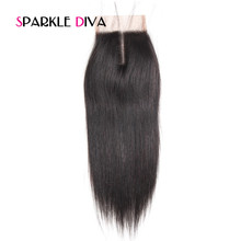 [SPARKLE DIVA HAIR] Brazilian Remy Hair Straight Closure 4X4 Lace Closure with Baby Hair Middle Part Natural Color Human Hair