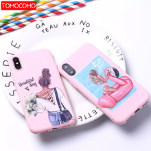 Fashion Queen Classy Paris Girl Summer Travel Mom Baby Soft Silicone Candy Case Coque For iPhone 6 11 8 8Plus X XS Max 7 7Plus(China)