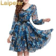 2018 Women's Floral Print Vintage Dress Plus Size Sweet Lady Long Sleeve V Neck Casual Summer Chiffon Laipelar Style Dress