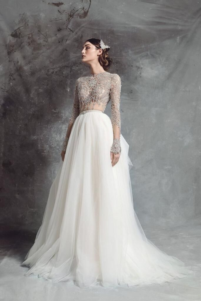 Erosebridal New Arrival Long Sleeves Wedding Dresses Lace Wedding Gown Floor Length Bride Dress