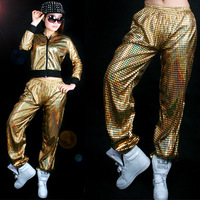 Women Laser Hiphop Sequin Hooded Jacket and pants Jazz Dance Stage Set