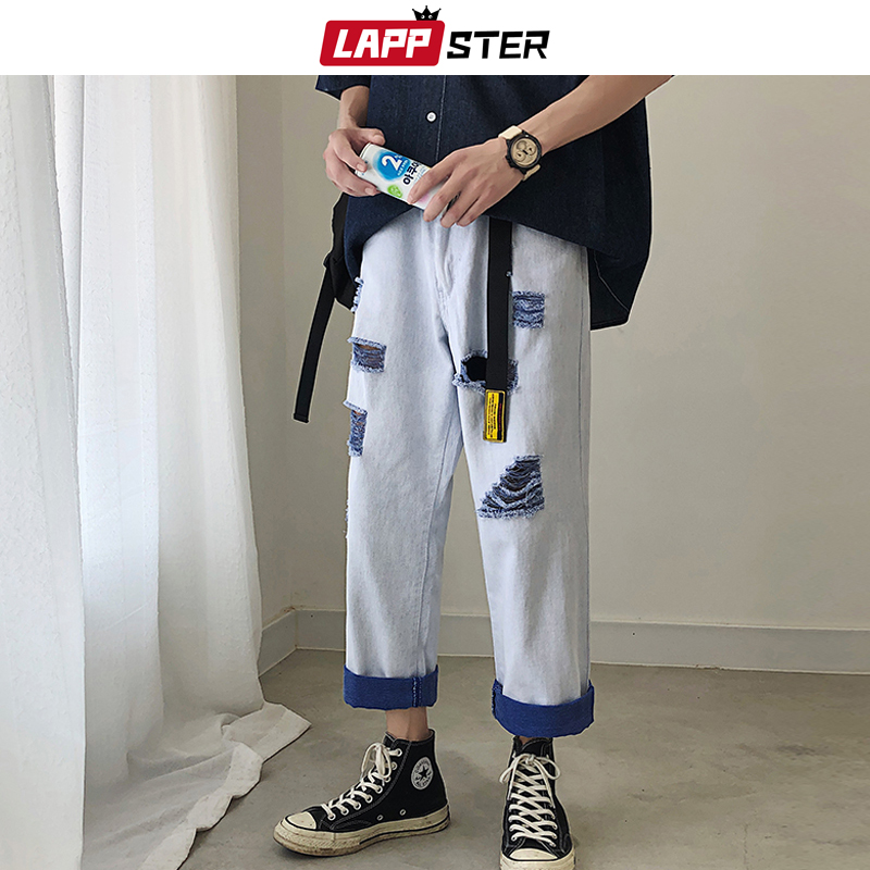 LAPPSTER Streetwear Ripped Jeans For Men 2019 Mens Fashions Blue Jeans Denim Distressed Jeans Couple Designer Jeans Color Bolock
