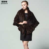 QIUSIDUN Knitting Mink Fur Poncho Shawl Mink Shawls Coat Winter Woman Flower Fashion Shawl Russian women Warm Lapel Wavy edge