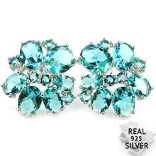 Real 5.6g 925 Solid Sterling Silver Classic Rich Blue Aquamarine Womans Stud Earrings 20x20mm
