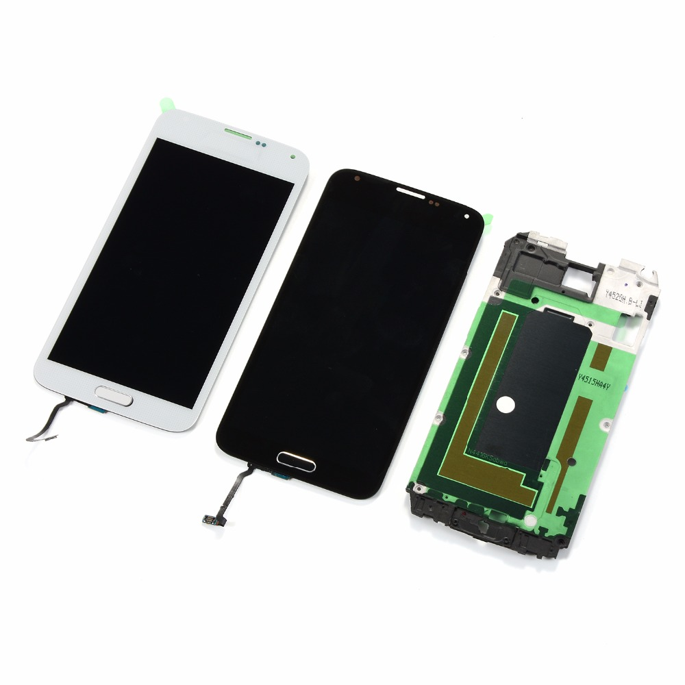 For Samsung Galaxy S5 i9600 <font><b>G900F</b></font> G900T G900P G900A LCD Display Touch Screen+Housing Front Frame+Home Button image