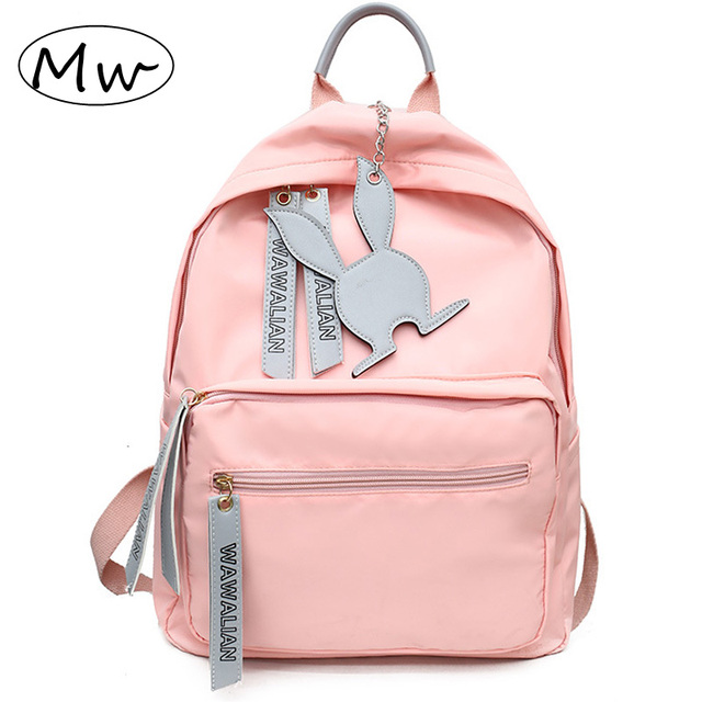 Moon Wood New 2019 Women Girls Backpack Pink Nylon Backpacks Waterproof School  Bags For Teenagers Girls cccd3699460e4