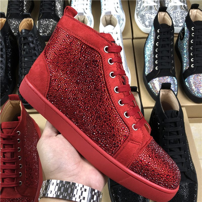 US4-11 Mens Sports Sneakers Rhinestones Crystal High Top Boots Shoes Casual  Genuine Leather Lace d66b5345ac88
