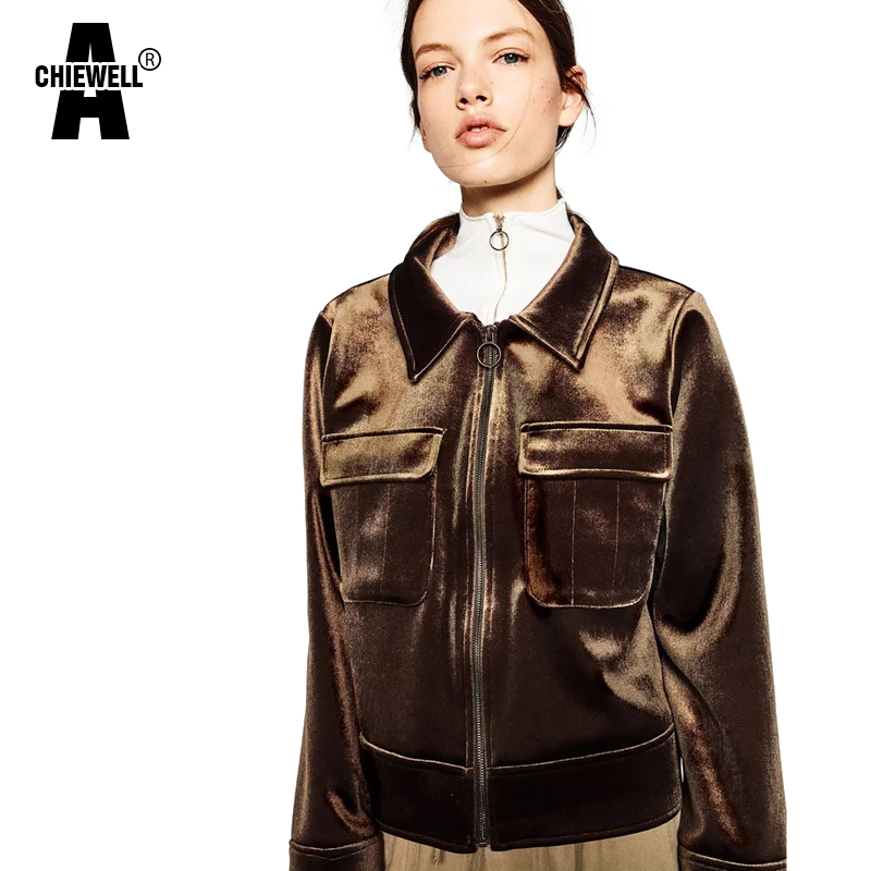 Achiewell Spring Casual Women Jacket Pure Color Turn-down Collar Lapel  Pocket Brown/Winered Velvet Bomber Jacket Coat Tops - Online Get Cheap Womens Brown Bomber Jacket -Aliexpress.com