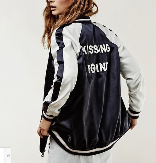 189be4c86d2 2016 Spring Fall Women Black White Bomber Jacket KISSING POINT LETTERS  Embroidery Coats Baseball College Jackets