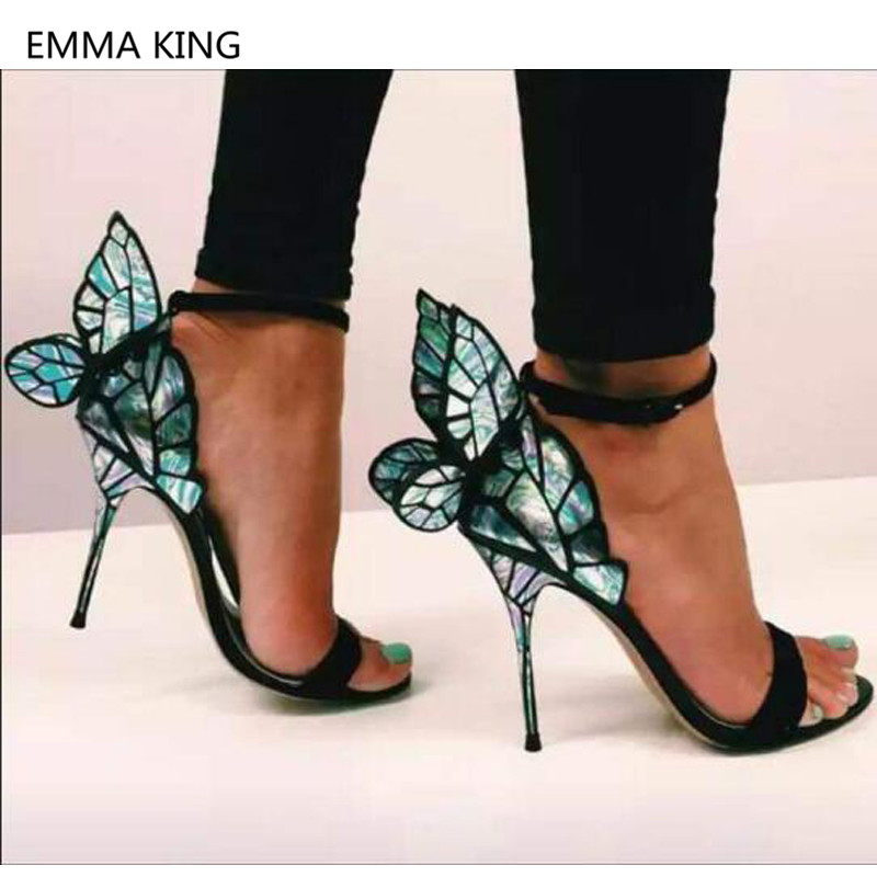 Magic Butterfly Wings Design Women Stiletto Heel Sandals Open Toe Ankle Buckle Strap High Heels Party Shoes Woman Roman SandalsMagic Butterfly Wings Design Women Stiletto Heel Sandals Open Toe Ankle Buckle Strap High Heels Party Shoes Woman Roman Sandals