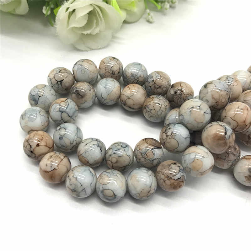 Wholesale 6 8 10mm pattern glass bead spacer jewelry Bulk Beads For DIY Making Bracelet Necklace Jewelry #09