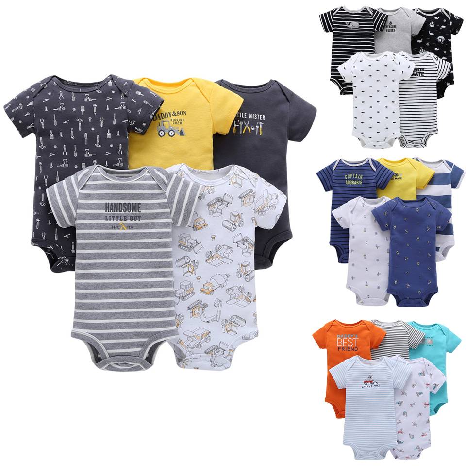 FREE SHIPPING New Bebes Baby Boys 6 Months to 24 Months Short Sleeve Clothing Set 5 pcs pack Bodysuits Bebes