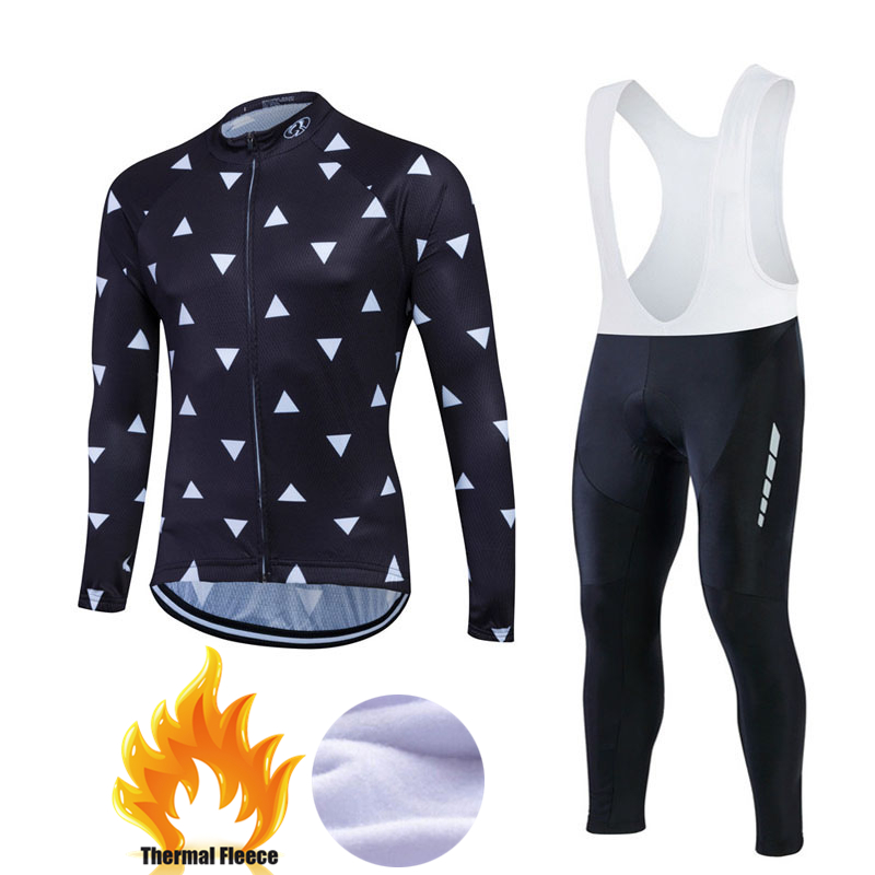 Winter Cycling Jersey Kit Thermal Fleece Long Sleeve Jacket + Warm Pants Cycling Set Bicycle Bike Clothing Ropa Ciclismo #FWLM30 veobike winter windproof thermal fleece reflective bike bicycle jersey warm cycling wind coat jackets pants set for men women