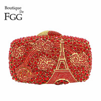 Boutique De FGG Ruby Wine Red Eiffel Tower Women Crystal Evening Bag Clutch Minaudiere Wedding Party Cocktail Handbag and Purse
