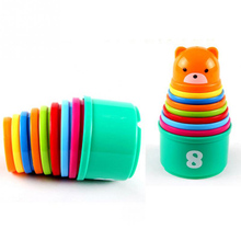 Купить с кэшбэком 9PCS Educational Baby Toys Figures Letters Folding Stack Cup Tower Children Early Intelligence Toy