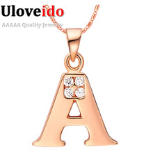 Letter Collares for Women Rose Gold Plated Pendants Statement Necklace A B C D E F G H I J K L M N O P Q R S T U V W X Y Z N958