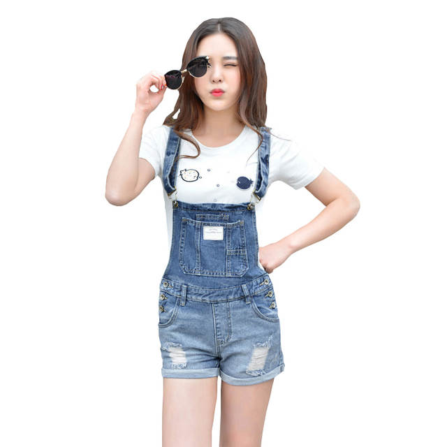 bac467415cc placeholder Womens Denim Jumpsuit Overalls Girls Summer Jumpsuits Rompers  Casual Strap Hole Ripped Pockets Shorts Jeans Coverall
