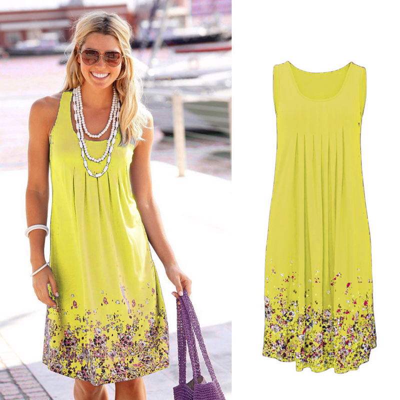 Sleeveless Floral Print Loose Beach Summer Dress Fashion Six Colors Casual Women Dress 2019 Sexy Dress Plus Size S-5XL 1
