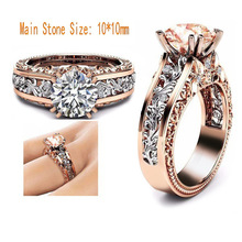 Rose Gold Hallow out Flower Rings for Women Fashion 10MM Cubic Zirconia Wedding Bands Rings Size 5 6 7 8 9 10 11 12 Dropshipping все цены