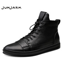 JUNJARM Handmade 100% Genuine Leather Men Snow Boots Winter Lace Up Men Ankle Boots Keep Warm Flats Boots Men Big Size 38-48 genuine leather men ankle boots winter men snow boots fur warm plush fashion flats casual boots men winter shoes big size 48 p3